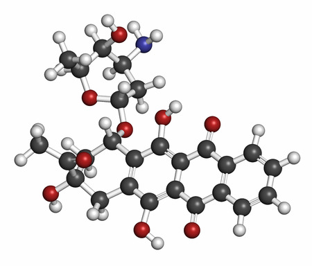 Idarubicin cancer drug molecule. Atoms are represented as spheres with conventional color coding: hydrogen (white), carbon (grey), oxygen (red), nitrogen (blue). Stock Photo