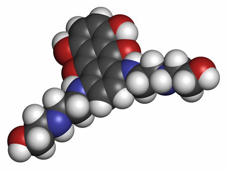 generic drugs: Mitoxantrone cancer drug molecule (type II topoisomerase inhibitor). Atoms are represented as spheres with conventional color coding: hydrogen (white), carbon (grey), nitrogen (blue), oxygen (red).
