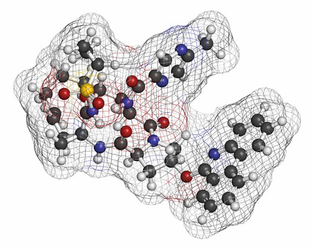 inhibitor: Paritaprevir hepatitis C virus (HCV) drug molecule (NS3-4A serine protease inhibitor). Atoms are represented as spheres with conventional color coding: hydrogen (white), carbon (grey), oxygen (red), nitrogen (blue), sulfur (yellow). Stock Photo