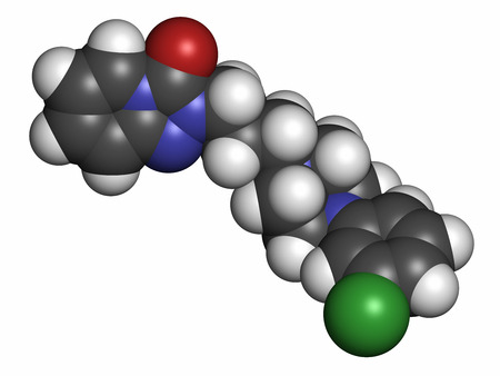 antidepressant: Trazodone antidepressant, hypnotic and anxiolytic drug molecule. Atoms are represented as spheres with conventional color coding: hydrogen (white), carbon (grey), oxygen (red), nitrogen (blue), chlorine (green).