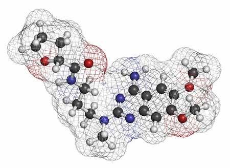 benign: Alfuzosin benign prostate hyperplasia (BPH) drug molecule. Atoms are represented as spheres with conventional color coding: hydrogen (white), carbon (grey), oxygen (red), nitrogen (blue).