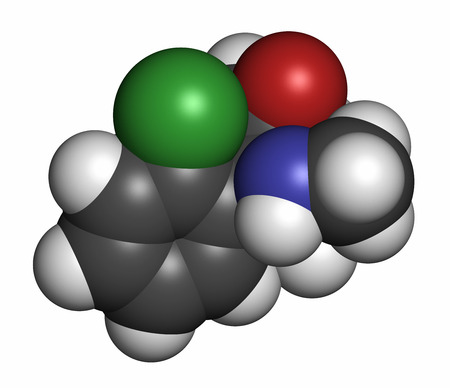antidepressant: Esketamine antidepressant and anesthetic drug molecule. Atoms are represented as spheres with conventional color coding: hydrogen (white), carbon (grey), oxygen (red), nitrogen (blue), chlorine (green). Stock Photo