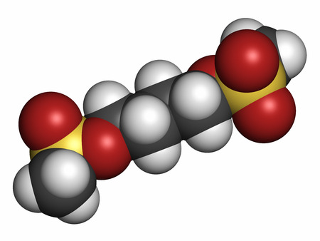 chemotherapy drug: Busulfan cancer chemotherapy drug molecule (alkylating agent). Atoms are represented as spheres with conventional color coding: hydrogen (white), carbon (grey), oxygen (red), sulfur (yellow). Stock Photo