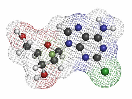 purine: Clofarabine cancer drug molecule (purine nucleoside antimetabolite). Atoms are represented as spheres with conventional color coding: hydrogen (white), carbon (grey), nitrogen (blue), oxygen (red), chlorine (green), fluorine (light green). Stock Photo