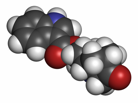 vomiting: Dolasetron nausea and vomiting drug molecule. Atoms are represented as spheres with conventional color coding: hydrogen (white), carbon (grey), oxygen (red), nitrogen (blue).