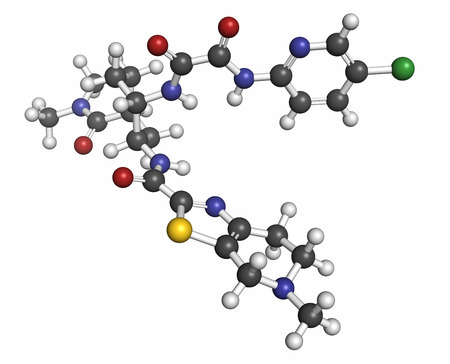 anticoagulant: Edoxaban anticoagulant drug molecule (direct FXa inhibitor). Atoms are represented as spheres with conventional color coding: hydrogen (white), carbon (grey), oxygen (red), nitrogen (blue), chlorine (green), sulfur (yellow). Stock Photo