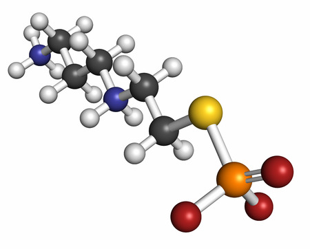 Amifostine cancer drug molecule. Adjuvant drug that protects against cancer chemotherapy side effects. Atoms are represented as spheres with conventional color coding: hydrogen (white), carbon (grey), oxygen (red), nitrogen (blue), phosphorus (orange), su