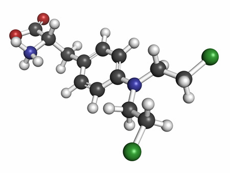 guanine: Melphalan cancer chemotherapy drug molecule. Atoms are represented as spheres with conventional color coding: hydrogen (white), carbon (grey), nitrogen (blue), chlorine (green).