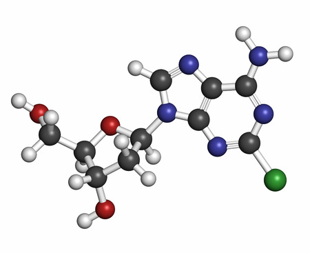 purine: Cladribine cancer drug molecule. Atoms are represented as spheres with conventional color coding: hydrogen (white), carbon (grey), oxygen (red), nitrogen (blue), chlorine (green).