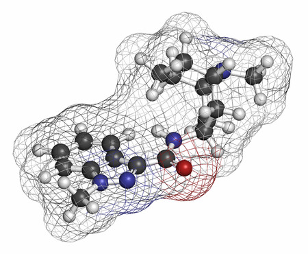 nausea: Granisetron nausea and vomiting drug molecule. Atoms are represented as spheres with conventional color coding: hydrogen (white), carbon (grey), oxygen (red), nitrogen (blue).