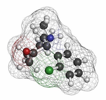 anesthetic: Esketamine antidepressant and anesthetic drug molecule. Atoms are represented as spheres with conventional color coding: hydrogen (white), carbon (grey), oxygen (red), nitrogen (blue), chlorine (green). Stock Photo