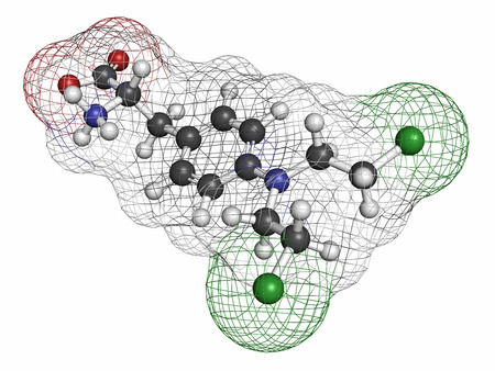 chemotherapy drug: Melphalan cancer chemotherapy drug molecule. Atoms are represented as spheres with conventional color coding: hydrogen (white), carbon (grey), nitrogen (blue), chlorine (green).
