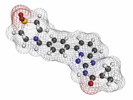 inhibitor: Filgotinib anti-inflammatory drug molecule. Janus kinase 1 inhibitor used in treatment of rheumatoid arthritis and Crohns disease. Atoms are represented as spheres with conventional color coding: hydrogen (white), carbon (grey), oxygen (red), nitrogen (b