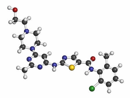 kinase: Dasatinib cancer drug molecule. Atoms are represented as spheres with conventional color coding: hydrogen (white), carbon (grey), oxygen (red), nitrogen (blue), sulfur (yellow), chlorine (green). Stock Photo