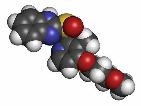 inhibitor: Rabeprazole gastric ulcer drug molecule (proton pump inhibitor). Atoms are represented as spheres with conventional color coding: hydrogen (white), carbon (grey), oxygen (red), nitrogen (blue), sulfur (yellow). Stock Photo