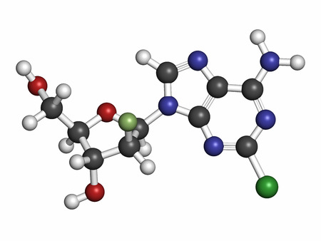 nucleoside: Clofarabine cancer drug molecule (purine nucleoside antimetabolite). Atoms are represented as spheres with conventional color coding: hydrogen (white), carbon (grey), nitrogen (blue), oxygen (red), chlorine (green), fluorine (light green). Stock Photo