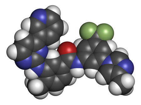 inhibitor: Nilotinib cancer drug molecule (tyrosine kinase inhibitor). Atoms are represented as spheres with conventional color coding: hydrogen (white), carbon (grey), oxygen (red), nitrogen (blue), fluorine (light green). Stock Photo