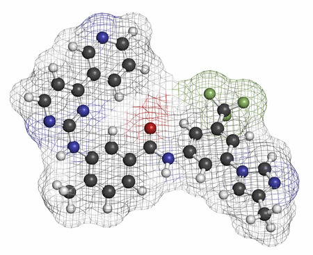 fluorine: Nilotinib cancer drug molecule (tyrosine kinase inhibitor). Atoms are represented as spheres with conventional color coding: hydrogen (white), carbon (grey), oxygen (red), nitrogen (blue), fluorine (light green). Stock Photo
