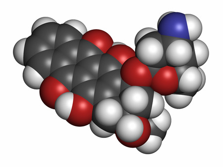 generic drugs: Idarubicin cancer drug molecule. Atoms are represented as spheres with conventional color coding: hydrogen (white), carbon (grey), oxygen (red), nitrogen (blue). Stock Photo