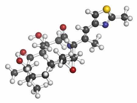 Ixabepilone (azaepothilone B) cancer drug molecule. Atoms are represented as spheres with conventional color coding: hydrogen (white), carbon (grey), oxygen (red), nitrogen (blue), sulfur (yellow).