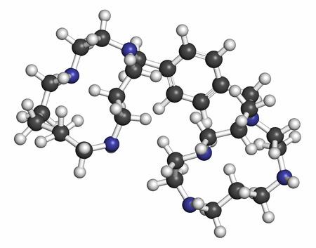 hidrogeno: mol�cula de medicamento contra el c�ncer Plerixafor. Los �tomos se representan como esferas con codificaci�n de colores convencionales: hidr�geno (blanco), carbono (gris), nitr�geno (azul).