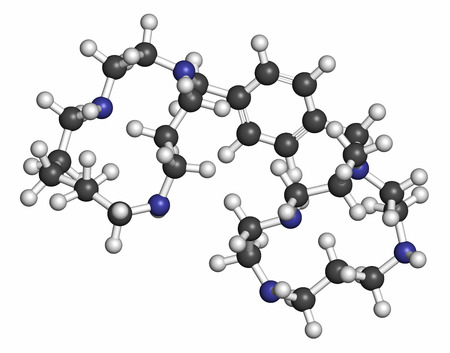 hematopoietic: Plerixafor cancer drug molecule. Atoms are represented as spheres with conventional color coding: hydrogen (white), carbon (grey), nitrogen (blue).