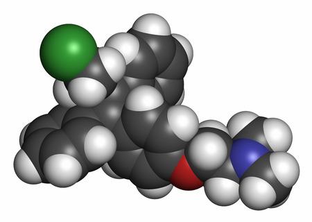 oral cancer: Toremifene oral selective estrogen receptor modulator (SERM) drug molecule. Atoms are represented as spheres with conventional color coding: hydrogen (white), carbon (grey), oxygen (red), nitrogen (blue), chlorine (green).