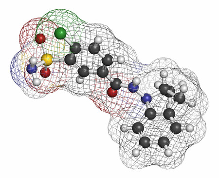 diuretic: Indapamide hypertension drug molecule (diuretic). Atoms are represented as spheres with conventional color coding: hydrogen (white), carbon (grey), oxygen (red), nitrogen (blue), chlorine (green), sulfur (yellow). Stock Photo