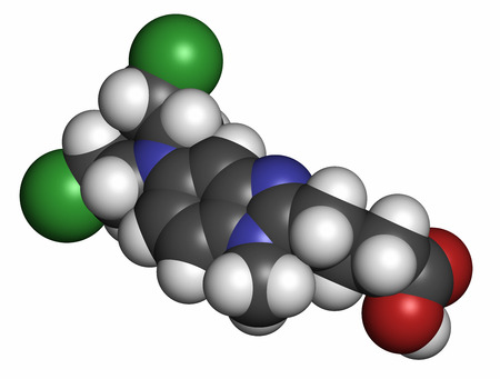 chemotherapy drug: Bendamustine cancer chemotherapy drug molecule (nitrogen mustard). Atoms are represented as spheres with conventional color coding: hydrogen (white), carbon (grey), oxygen (red), nitrogen (blue), sulfur (yellow).