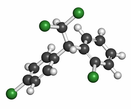 generic drugs: Mitotane cancer drug molecule. Atoms are represented as spheres with conventional color coding: hydrogen (white), carbon (grey), chlorine (green).
