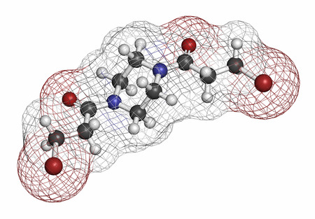 chemotherapy drug: Pipobroman cancer chemotherapy drug molecule. Atoms are represented as spheres with conventional color coding: hydrogen (white), carbon (grey), nitrogen (blue), oxygen (red), bromine (brown).