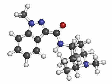 Granisetron nausea and vomiting drug molecule. Atoms are represented as spheres with conventional color coding: hydrogen (white), carbon (grey), oxygen (red), nitrogen (blue).
