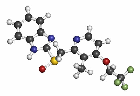 inhibitor: Dexlansoprazole gastric ulcer drug molecule (proton pump inhibitor). Atoms are represented as spheres with conventional color coding: hydrogen (white), carbon (grey), oxygen (red), nitrogen (blue), sulfur (yellow), fluorine (light green).
