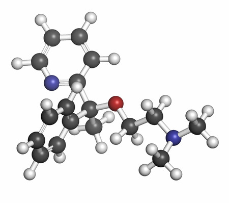 generic drugs: Doxylamine antihistamine drug molecule. Also used as over-the-counter (OTC) sedative. Atoms are represented as spheres with conventional color coding: hydrogen (white), carbon (grey), oxygen (red), nitrogen (blue).