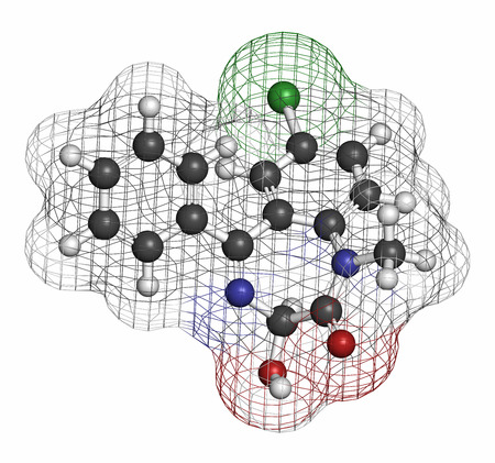 anticonvulsant: Temazepam benzodiazepine drug molecule. Used as hypnotic, anxiolytic and anticonvulsant drug. Atoms are represented as spheres with conventional color coding: hydrogen (white), carbon (grey), oxygen (red), nitrogen (blue), chlorine (green). Stock Photo