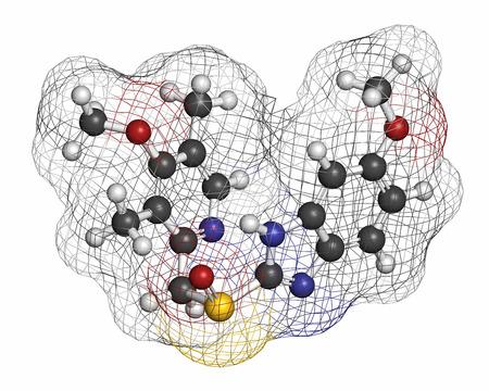 ulc�re: Mol�cule �som�prazole ulc�re gastro-duod�nal du m�dicament (inhibiteur de la pompe � protons). Atomes sont repr�sent�s comme des sph�res avec codage couleur classique: l'hydrog�ne (blanc), le carbone (gris), l'oxyg�ne (rouge), l'azote (bleu), le soufre (jaune).