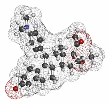 progesterone: Ulipristal acetate contraceptive drug molecule. Used in emergency contraception tablets (morning-after pill). Atoms are represented as spheres with conventional color coding: hydrogen (white), carbon (grey), oxygen (red), nitrogen (blue). Stock Photo