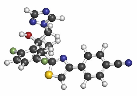 fluorine: Isavuconazole triazole antifungal drug molecule. Atoms are represented as spheres with conventional color coding: hydrogen (white), carbon (grey), oxygen (red), nitrogen (blue), sulfur (yellow), fluorine (light green). Stock Photo