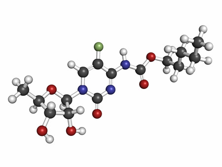 chemotherapeutic: Capecitabine cancer drug molecule. Prodrug of 5-fluorouracil (5-FU). Atoms are represented as spheres with conventional color coding: hydrogen (white), carbon (grey), nitrogen (blue), oxygen (red), fluorine (light green).