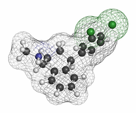 major depression: Sertraline antidepressant drug molecule. Atoms are represented as spheres with conventional color coding: hydrogen (white), carbon (grey), nitrogen (blue), chlorine (green).