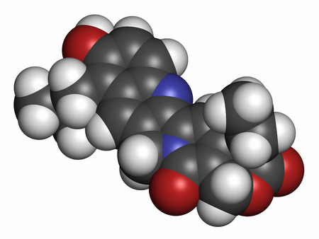 inhibitor: Topotecan cancer drug molecule (topoisomerase I inhibitor). Atoms are represented as spheres with conventional color coding: hydrogen (white), carbon (grey), oxygen (red), nitrogen (blue). Stock Photo