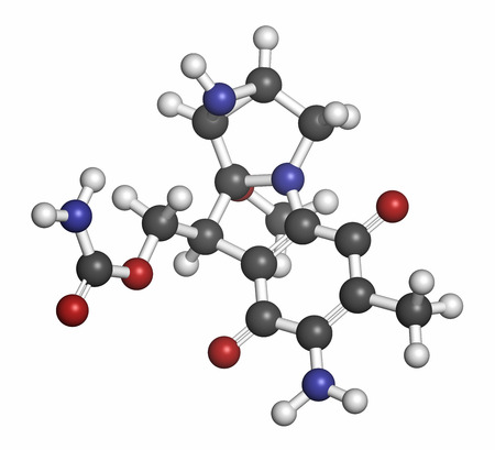 hidrogeno: Mitomycin C cancer drug molecule. Atoms are represented as spheres with conventional color coding: hydrogen (white), carbon (grey), nitrogen (blue).