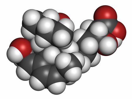lowering: Pravastatin cholesterol lowering drug molecule. Atoms are represented as spheres with conventional color coding: hydrogen (white), carbon (grey), oxygen (red).