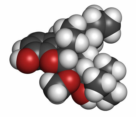 Buprenorphine opioid addiction and pain killer drug molecule. Atoms are represented as spheres with conventional color coding: hydrogen (white), carbon (grey), oxygen (red), nitrogen (blue). 版權商用圖片