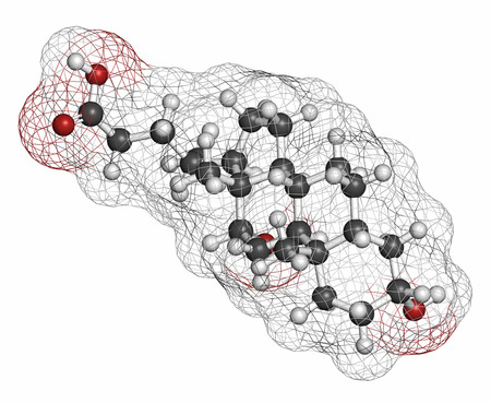 emulsifier: Deoxycholic acid bile acid molecule. Also used as drug. Atoms are represented as spheres with conventional color coding: hydrogen (white), carbon (grey), oxygen (red).