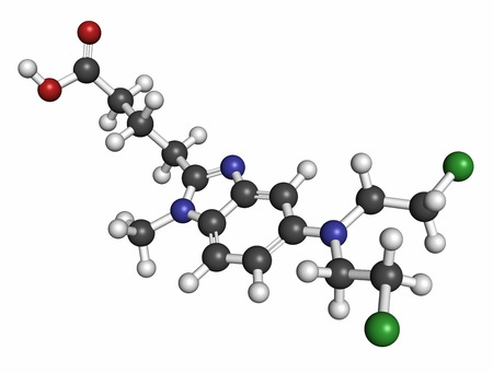 generic drugs: Bendamustine cancer chemotherapy drug molecule (nitrogen mustard). Atoms are represented as spheres with conventional color coding: hydrogen (white), carbon (grey), oxygen (red), nitrogen (blue), sulfur (yellow).