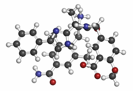 bowel: Eluxadoline irritable bowel syndrome (IBS) drug molecule. Atoms are represented as spheres with conventional color coding: hydrogen (white), carbon (grey), oxygen (red), nitrogen (blue). Stock Photo