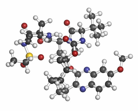 protease: Grazoprevir hepatitis C virus drug molecule (protease inhibitor). Atoms are represented as spheres with conventional color coding: hydrogen (white), carbon (grey), oxygen (red), nitrogen (blue), sulfur (yellow).