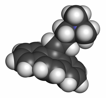 muscle spasm: Cyclobenzaprine muscle spasm drug molecule. Atoms are represented as spheres with conventional color coding: hydrogen (white), carbon (grey), nitrogen (blue).