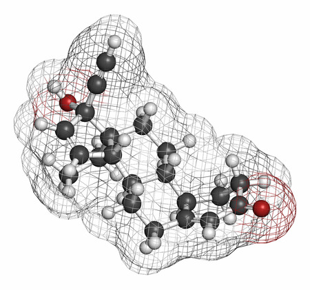 birth control pill: Gestodene progestogen hormonal contraceptive drug molecule. Atoms are represented as spheres with conventional color coding: hydrogen (white), carbon (grey), oxygen (red). Stock Photo
